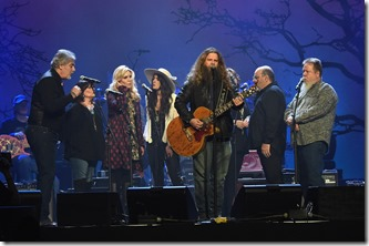 NASHVILLE, TN - FEBRUARY 08:  Jamey Johnson (center) rehearses with (l-r) Michael Bonagura, Kathy Baillee, Alison Kraus, Alyssa Bonagura, Suzanne and Seth Cox, and Howard Johnson during 1 Night. 1 Place. 1 Time: A Heroes & Friends Tribute to Randy Travis at Bridgestone Arena on February 8, 2017 in Nashville, Tennessee.  (Photo by Rick Diamond/Getty Images for Outback Concerts)