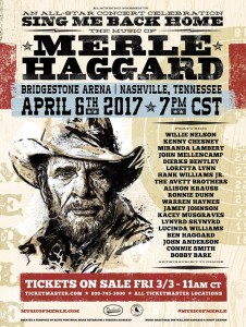 Willie Nelson, Kenny Chesney, Miranda Lambert, John Mellencamp & Dierks Bentley to headline concert celebration honoring Merle Haggard