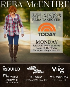 Reba to spend three hours on NBC's TODAY Show, Monday (Feb. 6) beginning at 8 a.m.
