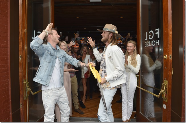 NASHVILLE, TN - JUNE 05:  (L-R) , musician Brian Kelley of Florida Georgia Line, musician Tyler Hubbard of Florida Georgia Line and Hayley Stommel Hubbard Brittney Marie Cole Kelley celebrate Florida Georgia Line's grand opening of FGL House on June 5, 2017 in Nashville, Tennessee.  (Photo by John Shearer/Getty Images for Florida Georgia Line)