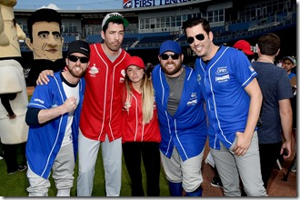 NASHVILLE, TN - JUNE 10: Colton Swon, Drew Scott, Danielle Bradbery, Zach Swon, and Jonathan Scott arrive at the 27th Annual City of Hope Celebrity Softball Game at First Tennessee Park on June 10, 2017 in Nashville, Tennessee.  (Photo by Rick Diamond/Getty Images for City Of Hope)