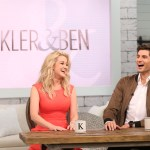 "Executive Producer, Faith Hill, talks from the booth with Kellie Pickler and Ben Aaron as they film their new talk show, ""Pickler & Ben."""