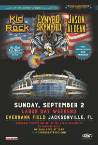 Lynyrd Skynyrd to play hometown stadium show at Everbank Field with friends Jason Aldean and Kid Rock on Sept. 2