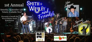 Inaugural Smith & Wesley and Friends benefit concert to be held Sept. 15, 2018