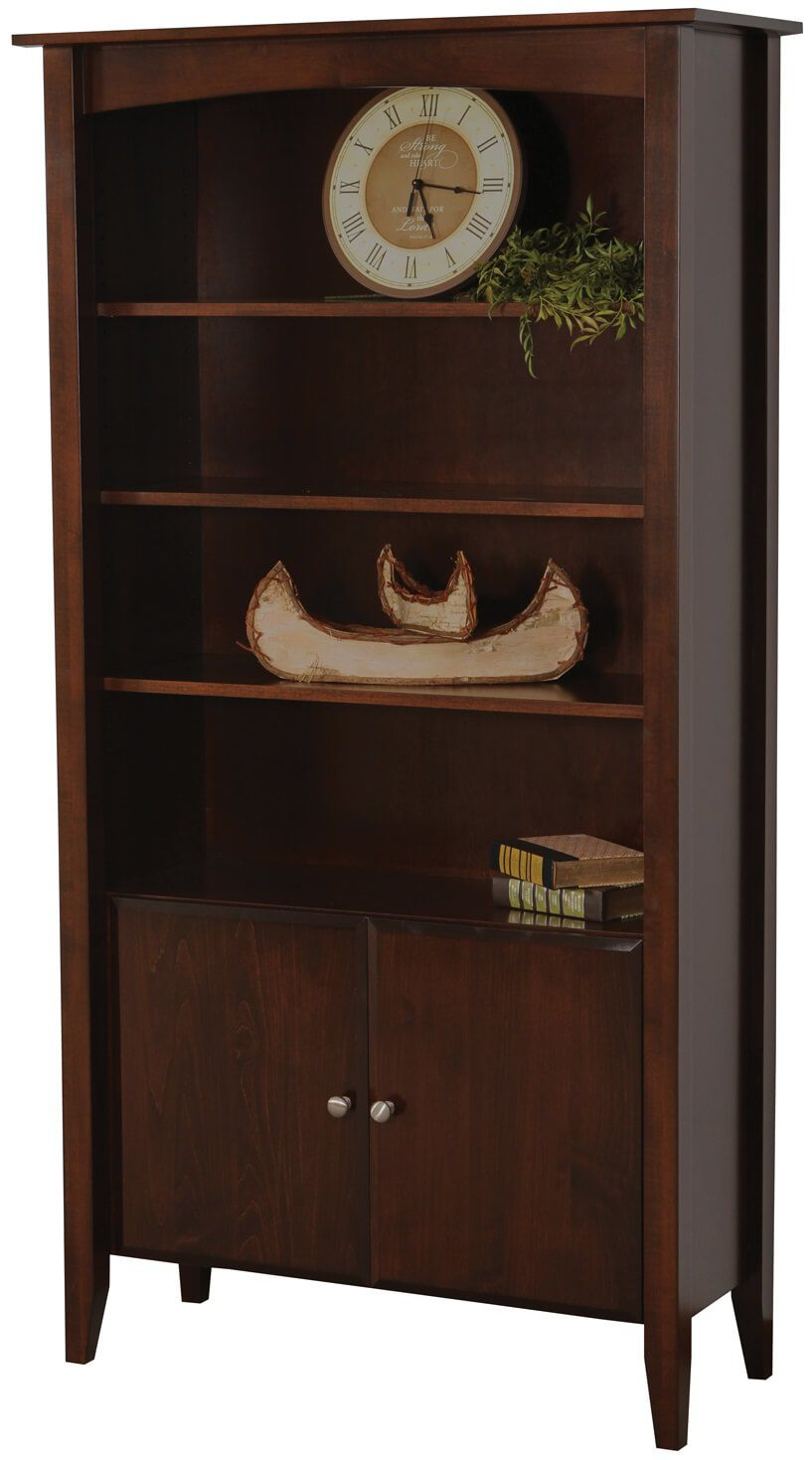 Landmark Dark Stained Bookcase With Doors Countryside