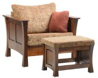 Two Rivers Wooden Upholstered Ottoman - Countryside Amish ...
