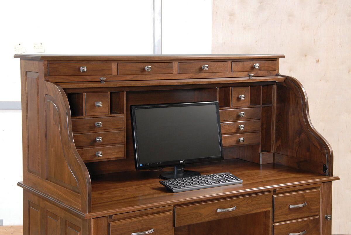Professors Walnut Roll Top Desk Countryside Amish Furniture