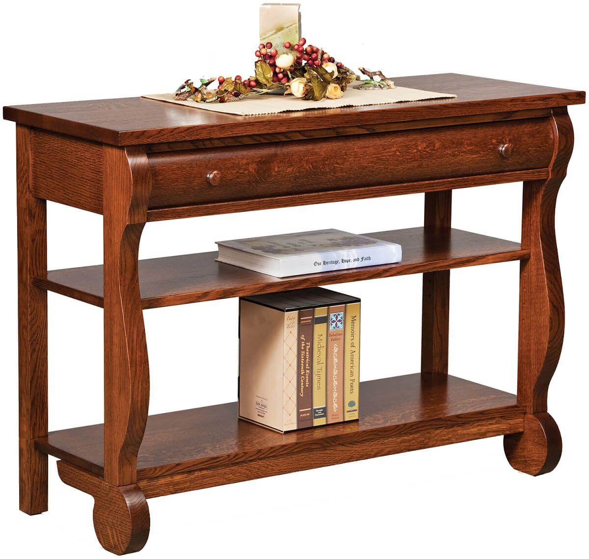 amish built sofa tables mirror half moon demilune console table wyndlot sleigh open countryside