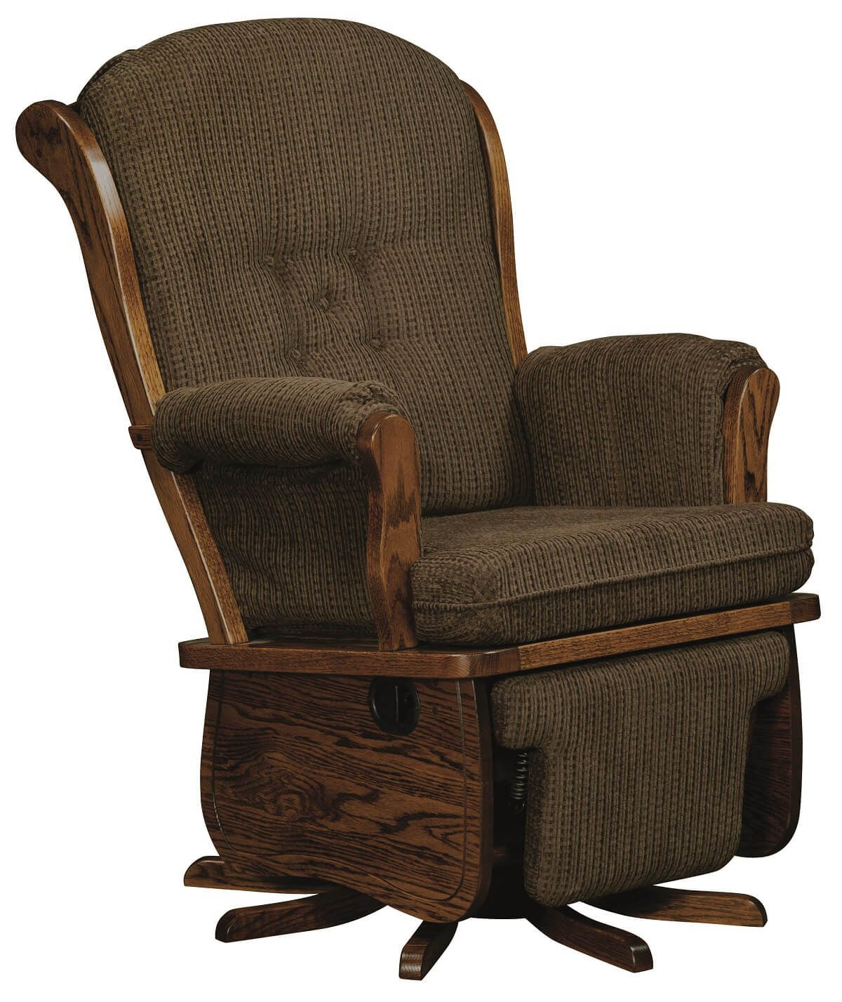 rocking chair footrest custom dining room covers yatesville traditional swivel recliner countryside amish
