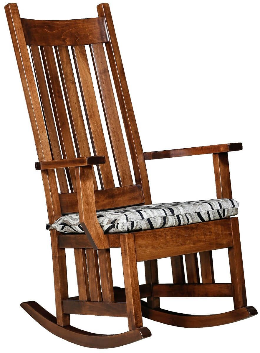 amish made rocking chair cushions office non rolling pomona mission rocker countryside furniture with seat cushion
