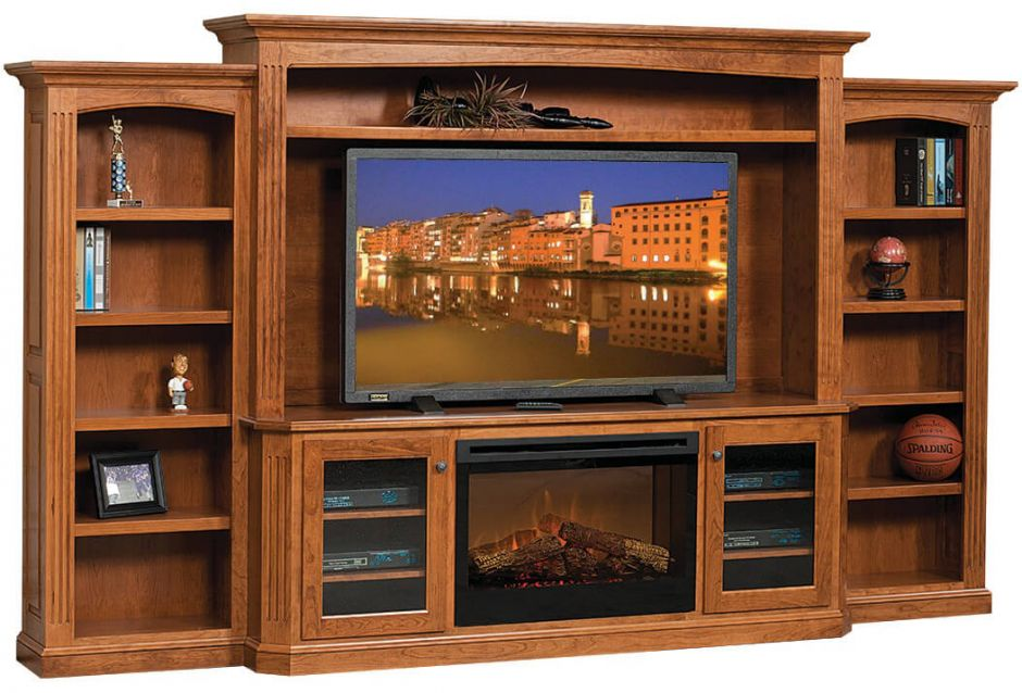 Cavalier Entertainment Center with Fireplace  Countryside Amish Furniture
