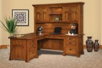 Mission Canyon Executive L-Desk with Hutch - Countryside ...