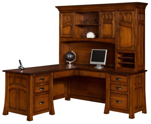 Mission Canyon LShaped Desk with Hutch  Countryside
