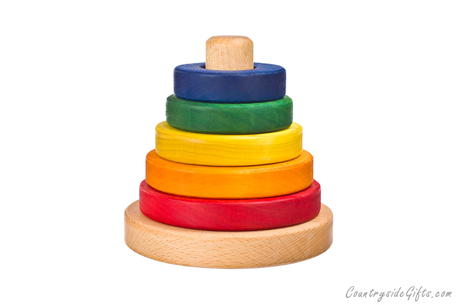 Colored Hardwood Circle Stacker Toy Countryside Gifts Llc