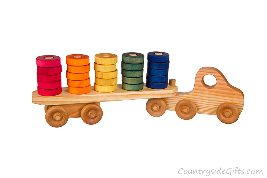 Semi Truck That S Also A Toy Car Holder : Wooden toy semi stacker truck countryside gifts llc