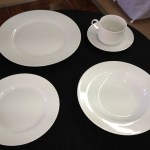 white plates and cups