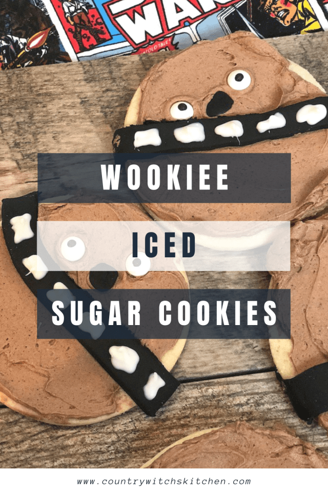 This decorated Star Wars cookies uses my favorite no-fail sugar cookie recipe to make the base for a fun Wookiee character #starwars #wookieecookie #icedsugarcookie #sugarcookierecipe