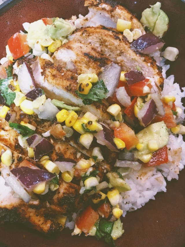 chicken with avocado salsa finished
