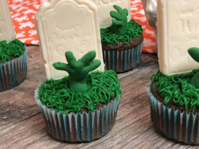 zombie arms in cupcakes