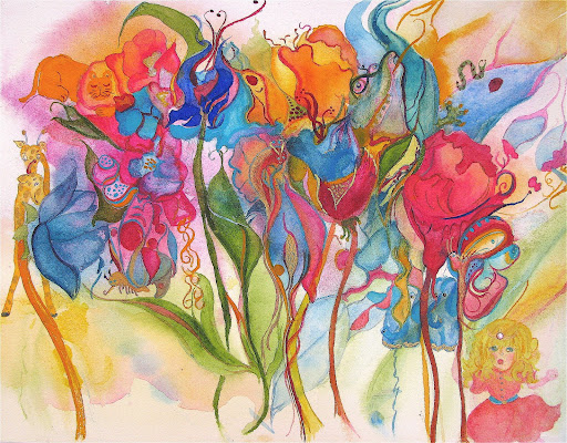 watercolor-flower forest