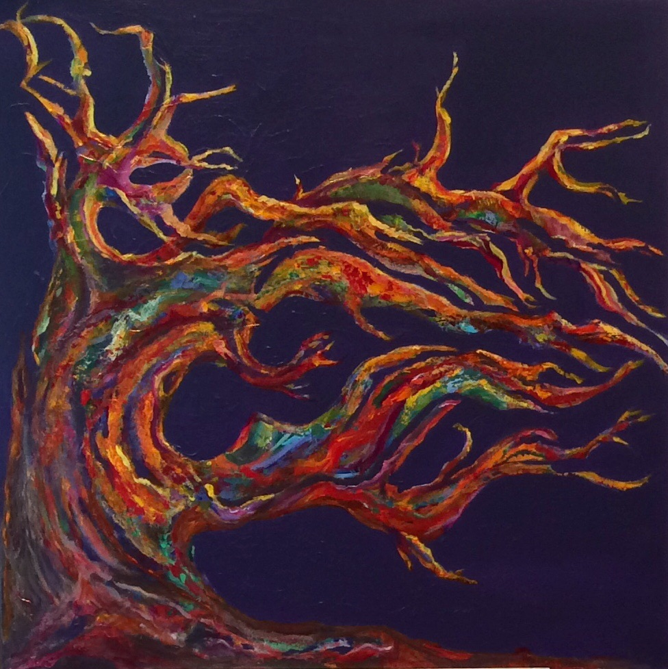 acrylic painting-oak tree