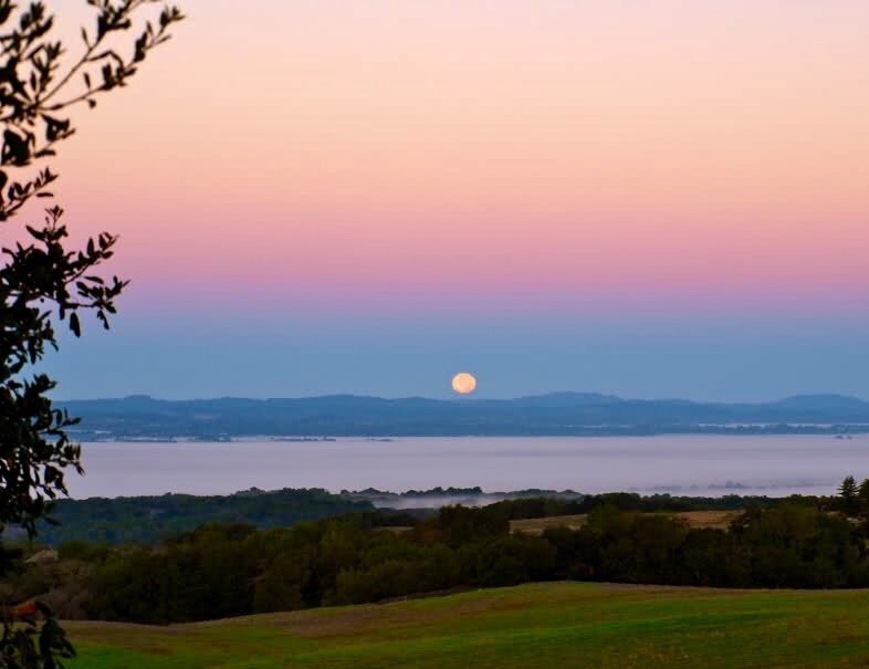 full moon in pink sky setting over green hills light