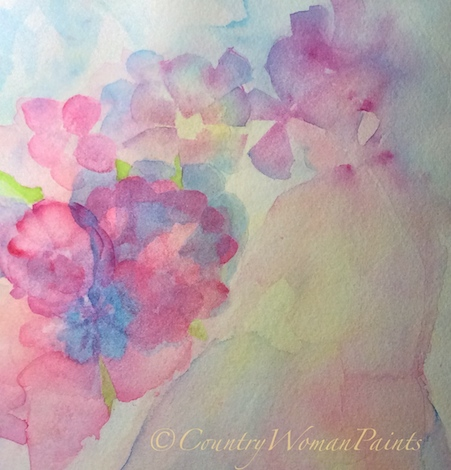 She Sits in Flowers-watercolor, ©countrywomanpaints