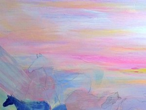 Synesthesia Skies Over Horses Blue acrylic painting-©2015 countrywomanpaints.com