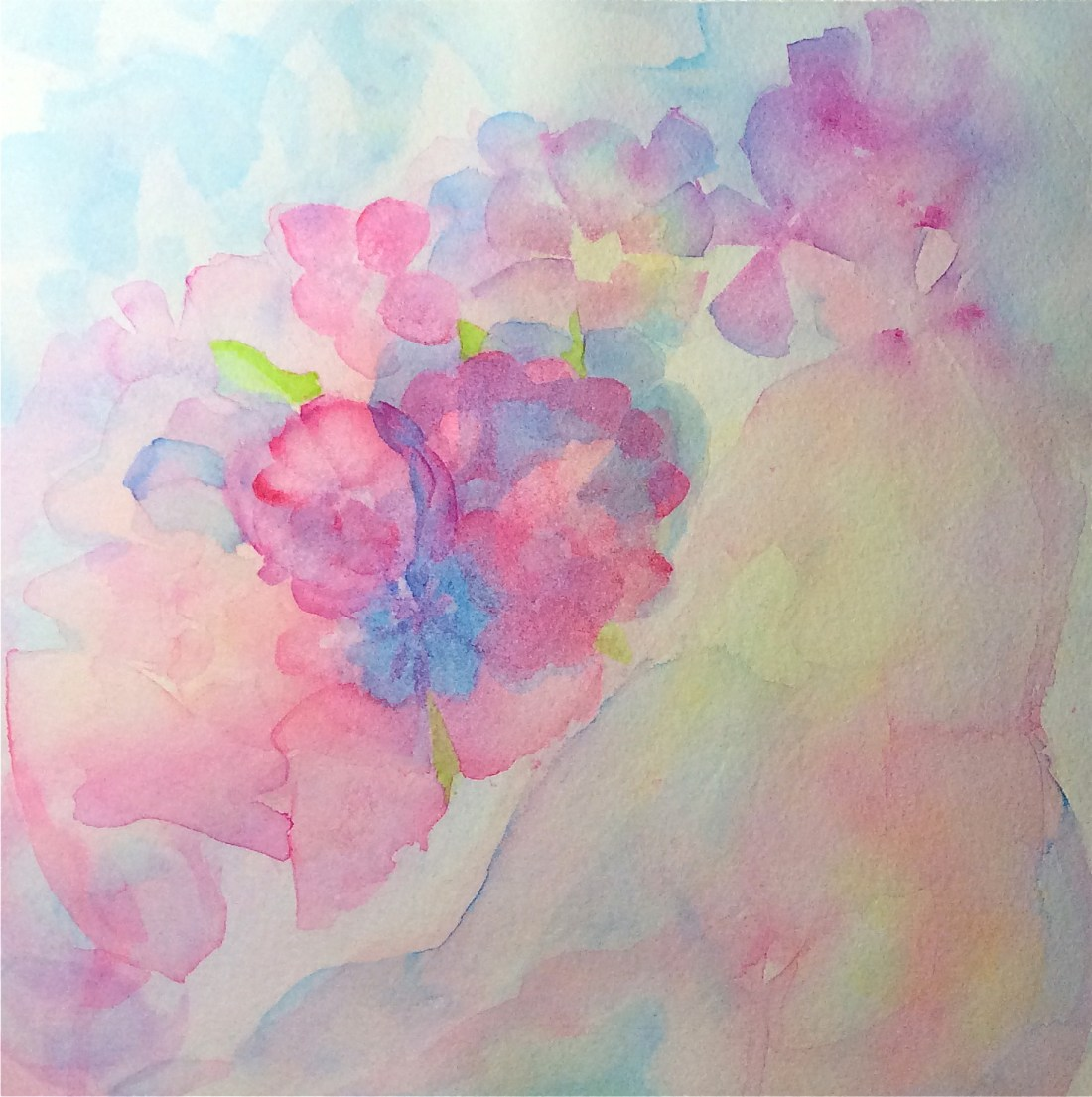 Lady in Flowers watercolor