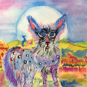 Coyote in Coat of Many Colors painting