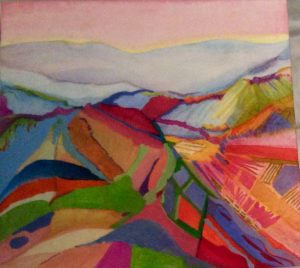 gouache painting vineyard abstract