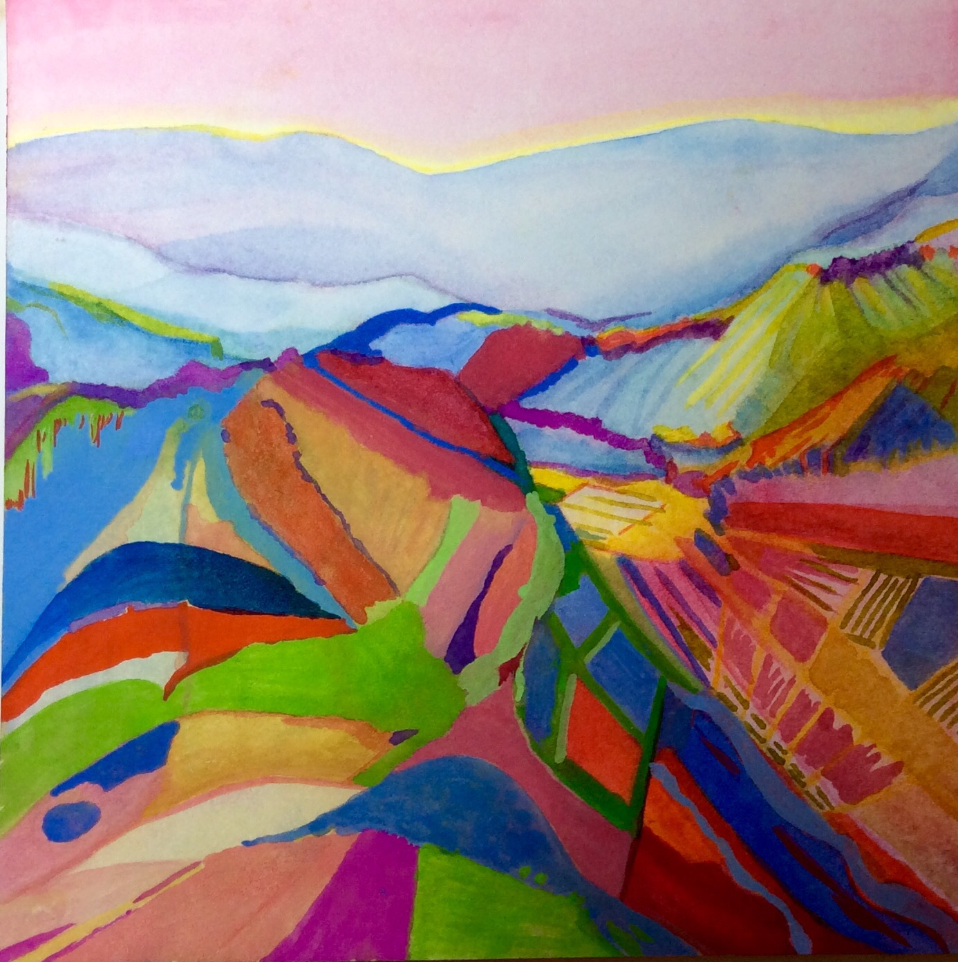 painting-gouache-Abstract Vineyards