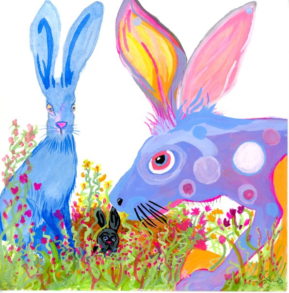 Blue Spotted Jack Rabbits in Flowers