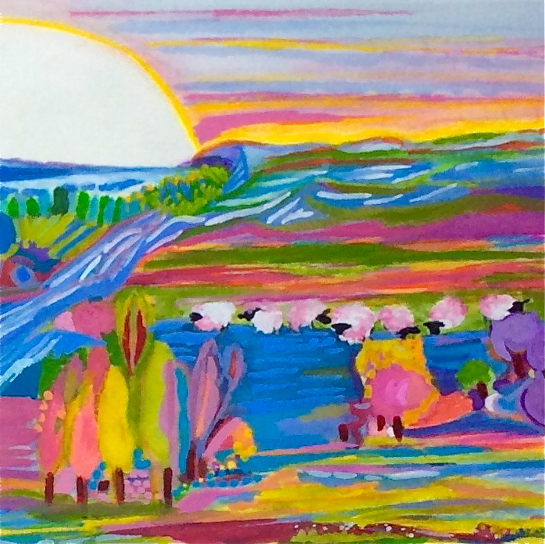 gouache painting-pink sheep and donkey gouache_3