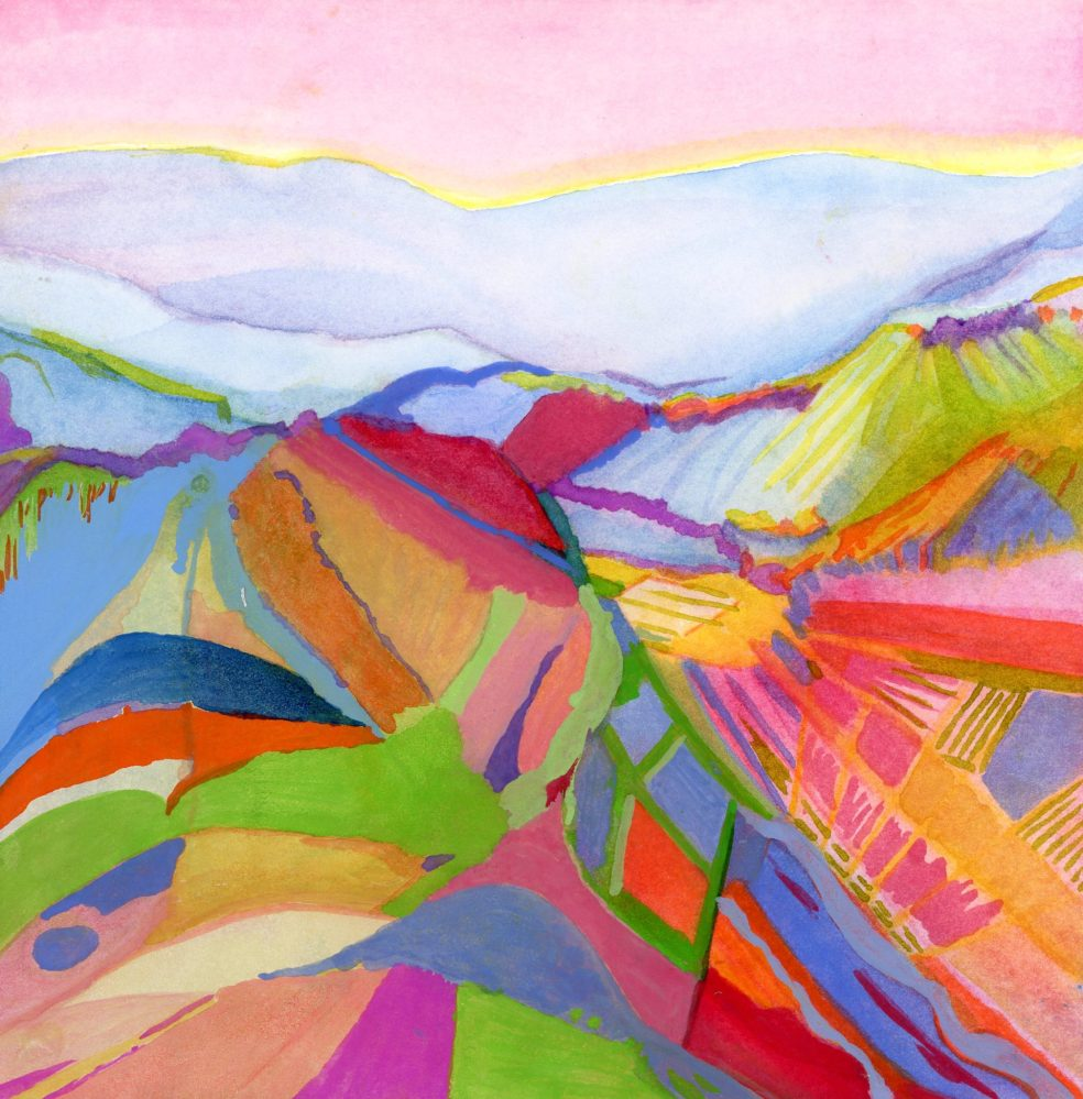 Abstract Vineyard Landscape gouache painting