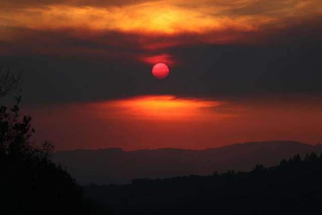 photo sunset during fires