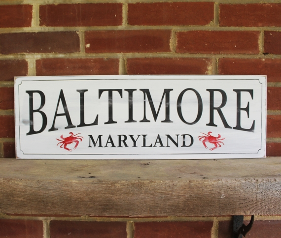 Baltimore Maryland Rustic Wood Sign Handpainted with Crabs