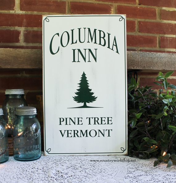 Columbia Inn Pine Tree Vermont Wood Sign White Christmas Design 2 White Christmas Movie