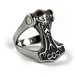 Open Thor's Hammer Stainless Steel Ring