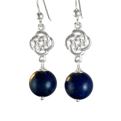Celtic Infinity Knot Sterling Earrings with Lapis