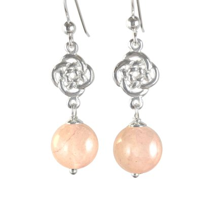 Celtic Infinity Knot Sterling Earrings with Rose Quartz