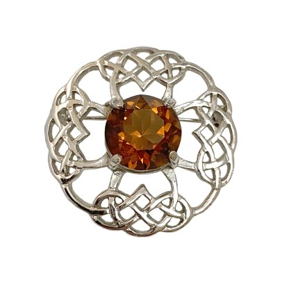 Celtic Cross Citrine Kilt Pin