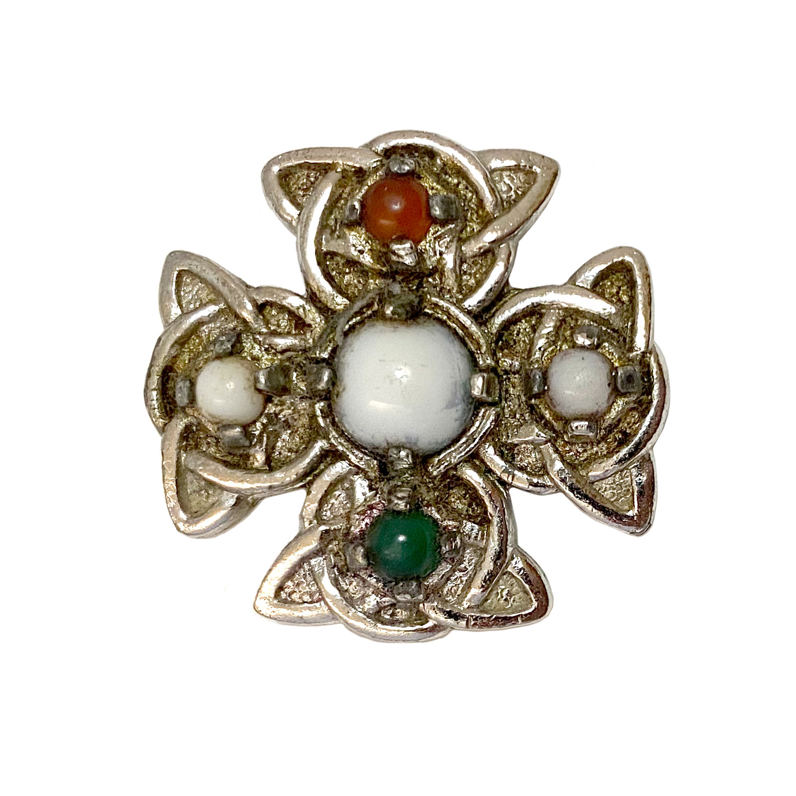 Irish Cross Miracle Pebble Kilt Pin