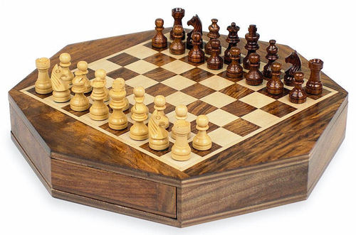 Octagon Wooden Chess Set Personalised County Engraving