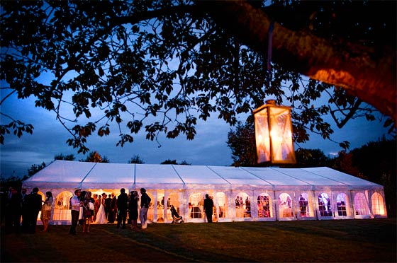 Marquee Lighting  Milling around a Wedding Marquee at Dusk