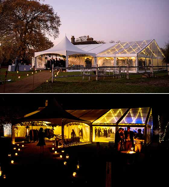 Dramatic lighting for a Wedding Marquee