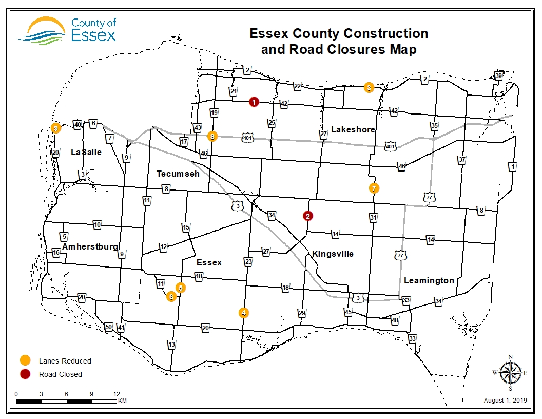 Essex County Construction and Road Closures: August 1