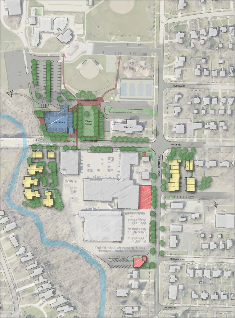 Site plan concept for Bay Village City Center
