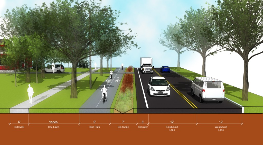 Rendering of Wolf Rd Multi-Purpose Trail