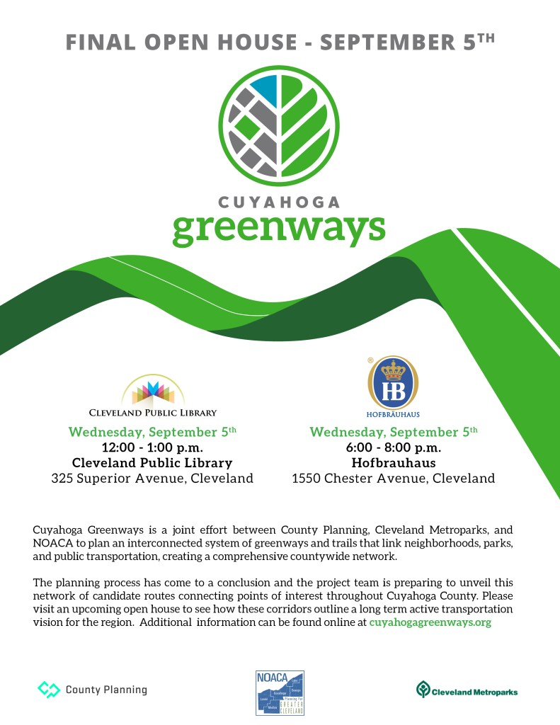 Cuyahoga Greenways open houses on September 5